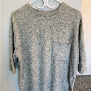 ZARA Soft Knit Top (Gray, S)